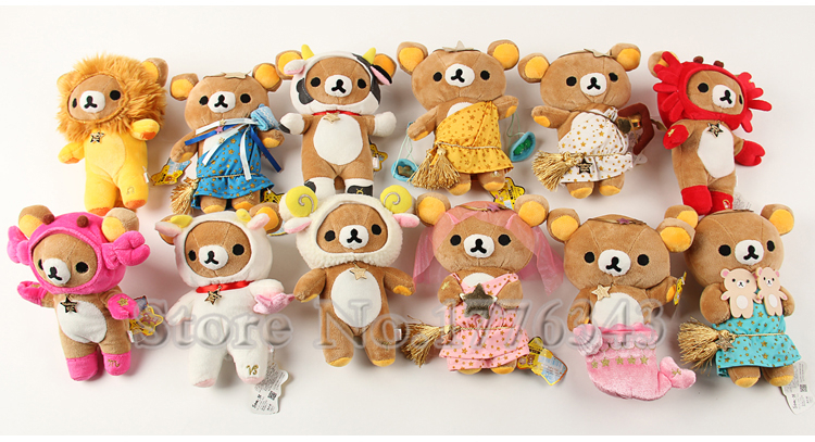 20CM TALL 12pcs/set Original San-X Rilakkuma 12 Constellation Plush Toy Charm With Original Original Tags Toys Gifts For Kids(China (Mainland))