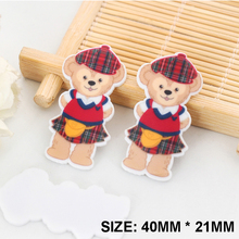 50pcs/lot Kawaii Scottish Kilt Duffy Bear Flatback Resins DIY Resin Crafts Planar Resin for Home Decoration Accessories DL443