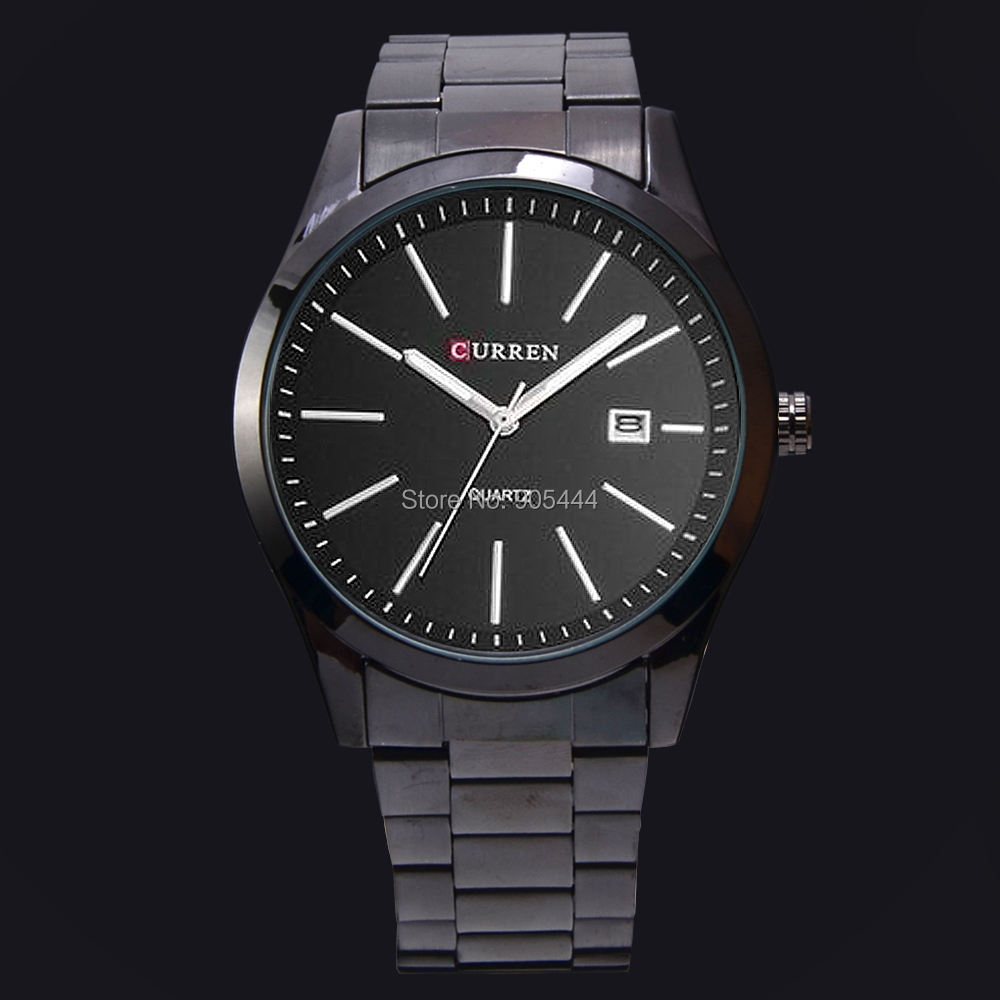 Curren черный цвет дата мужские военный армейский аналоговые кварцевые из нержавеющей стали наручные часы