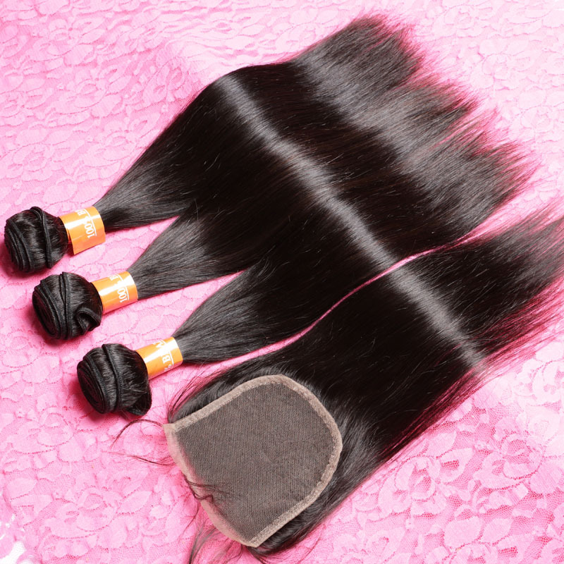 Brazilian Virgin hair Lace Closure With Bundles 4pcs Lot Top Grade Brazilian Hair Weave Bundles With Lace Closures(China (Mainland))