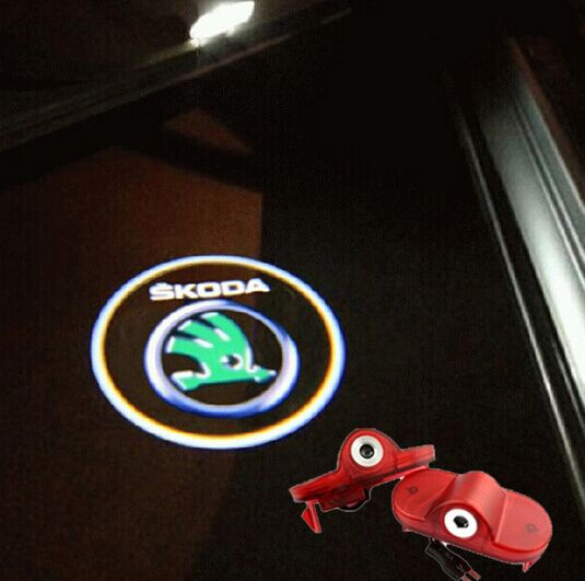 LED Car Door Logo laser projector Light ghost shadow light for skoda Octavia 04-08 Fabia 07-09 Roomster 06-09(China (Mainland))