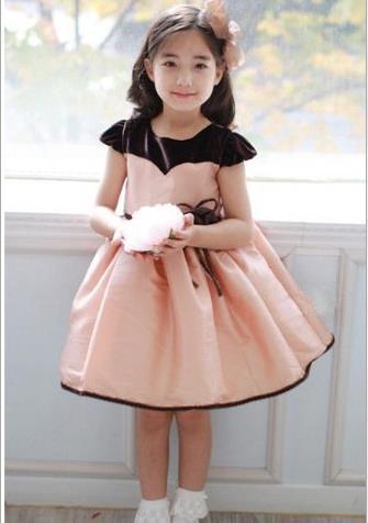 Summer latest cute beautiful female children clothing/waist belt flower princess Dresses(China (Mainland))