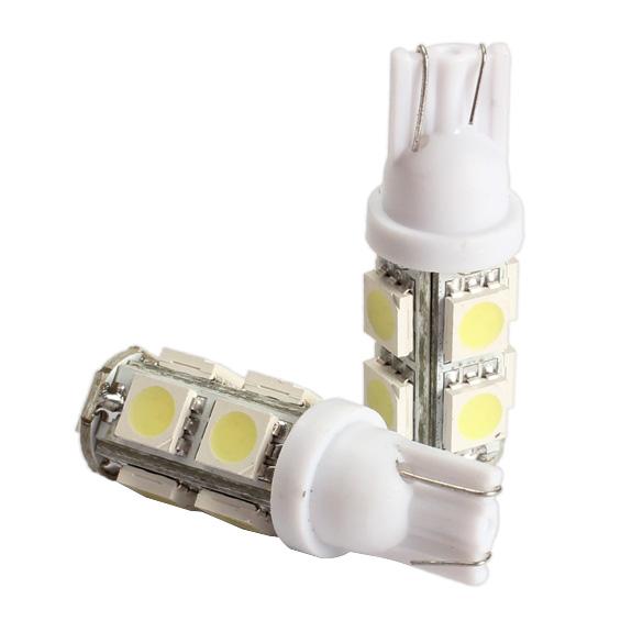 2PCS 194 168 W5W T10 9SMD 5050 LED White Light Car Tail Lamp Bulb Bright High