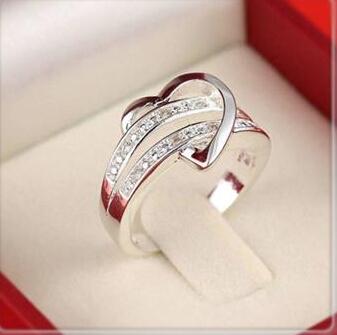 Hot Stainless steel heart female zircon wedding ring,white gold CZ diamond sterling silver love rings women 4 5 6 7 8 9 10 11 12(China (Mainland))