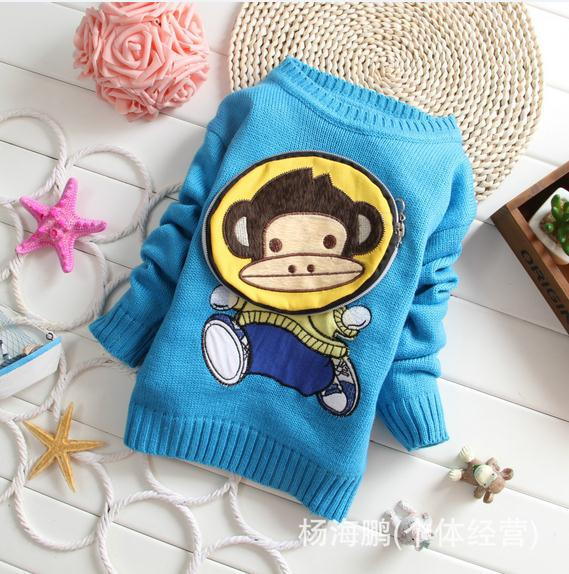 Autumn winter baby boy sweater blue long sleeve zipper bag monkey knitted sweater kids boys sweater children sweaters 6pcs/lot<br><br>Aliexpress
