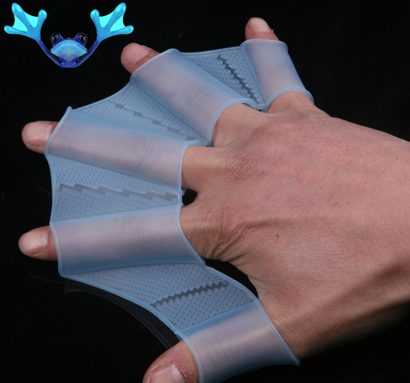 New Silicone Swimming Web Swim Gear Fins Hand Flippers Training Glove Finger Swimming Gloves 1Pair(China (Mainland))