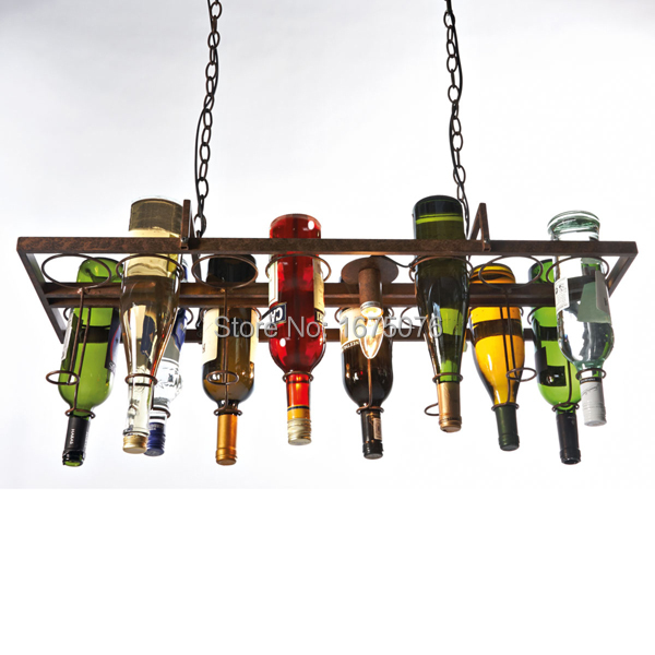 Recycled Wine Bottle Pendant Lamp|Hanging Wine Bottle|Bottle Lamp With Edison Light bulb|lighting|bar style of industrial lamp(China (Mainland))