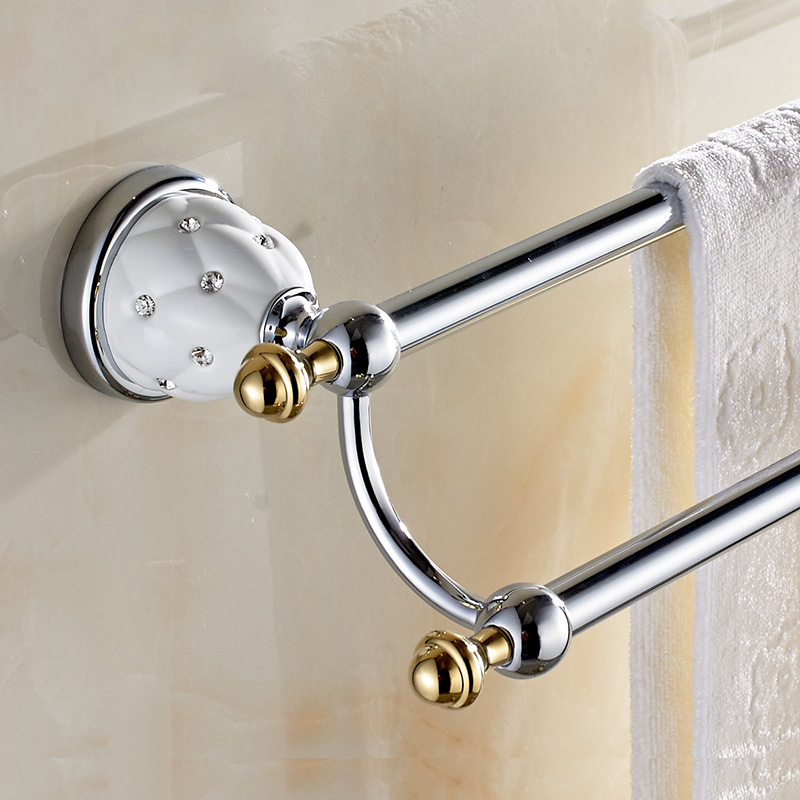High Quality European Style Solid Brass Diamond Towel Rail Chrome Bathroom Towel Holder Double Towel Bar Bathroom Accessories(China (Mainland))