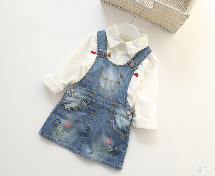 2016 New Arrival Baby Girls Denim Sundress Girls Floral-embroidery Sundress Girls Suspender Denim dress Kids Fashion Sundress