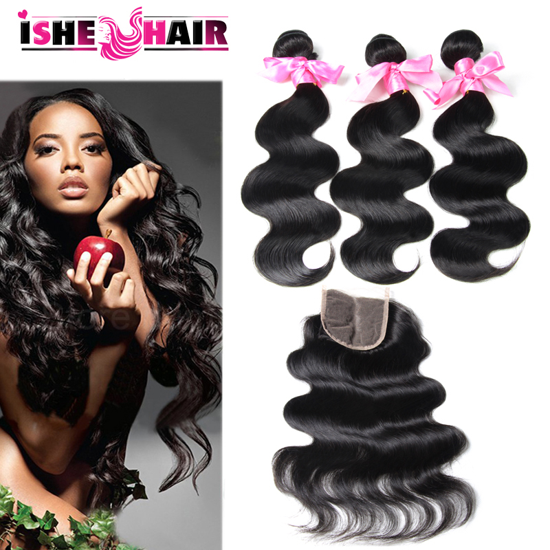 7A Grade Brazilian Virgin Hair Body Wave 3 Bundles Of Brazilian Hair With Lace Closure Cheap Human Hair With Closure