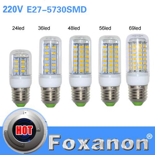 E27 Led Light Lamps 5730 220V 24 36 48 56 69leds LED Lights Corn Led Bulb Christmas lampada led Chandelier Candle Lighting(China (Mainland))