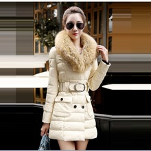 Han Edition Dress Free Shipping 2015 Winter Jacket Women's Fashion Collars Long Big Belt Cotton Coat Cultivate One's Morality