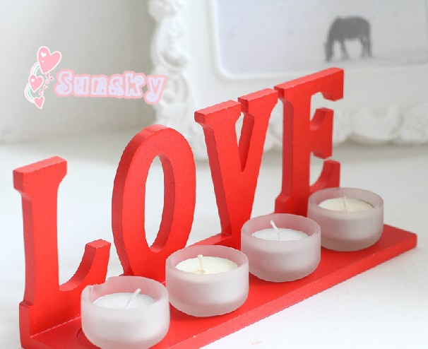 Hot sales for Romantic LOVE candlestick ,wooden candle holder,valentine's day wedding candlesticks+gift (4 + 4 candles)(China (Mainland))