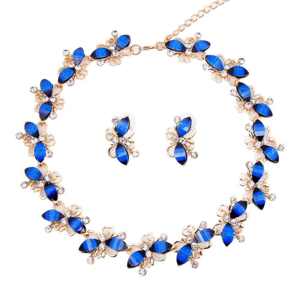 Hot Selling Classic Charming Elegant 18k Gold Plated Necklace Earrings Sets Crystal Resin Jewelry - Clover boutique mall store