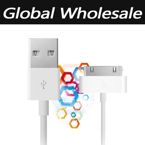 50pcs/lot 1m USB Sync Data Charging Charger Cable Cord for Apple iPhone 3GS 4 4S 4G iPad 2 3 iPod nano touch Adapter freeship