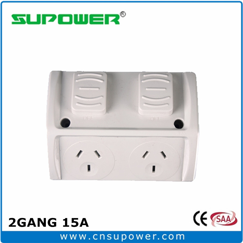 Australian NZ standard 2 Gang 15A industrial electrical weatherproof Switched Socket Outlet(China (Mainland))