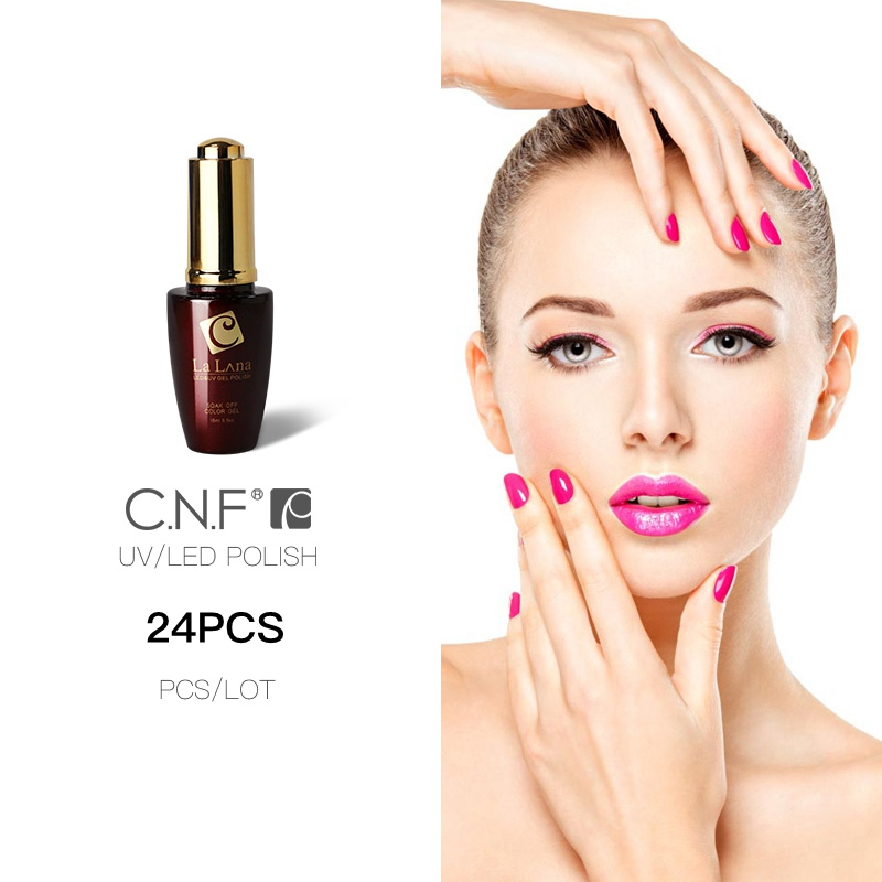 C.N.F LALUNA Nail Gel Uv Gel Polish 24PCS/Lot CNF Color Gel Laqucer or 20PCS Color+2pcs Base+2Pcs Top Coat 15ml Nail Salon Gel(China (Mainland))