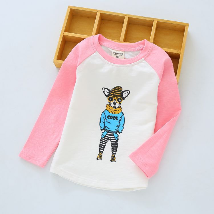 Springs boys and girls childrens cartoon dog t-shirt bottoming<br><br>Aliexpress