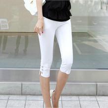 2016 Summer New Fahison Capris  Casual Calf-length Pants Female Plus Size S-3xl  White Black Women Pants(China (Mainland))