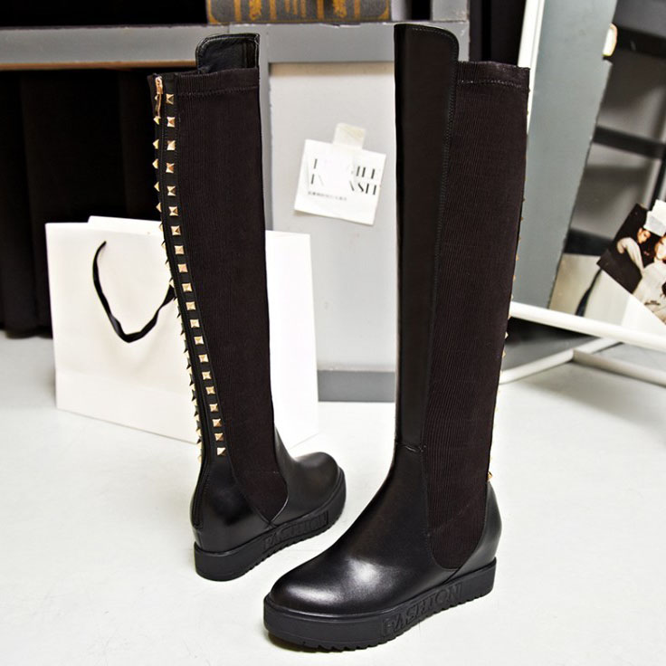 Brand design womens Full Grain Leather Fashion Rivets Knee High boots winter / Autumn Riding women
