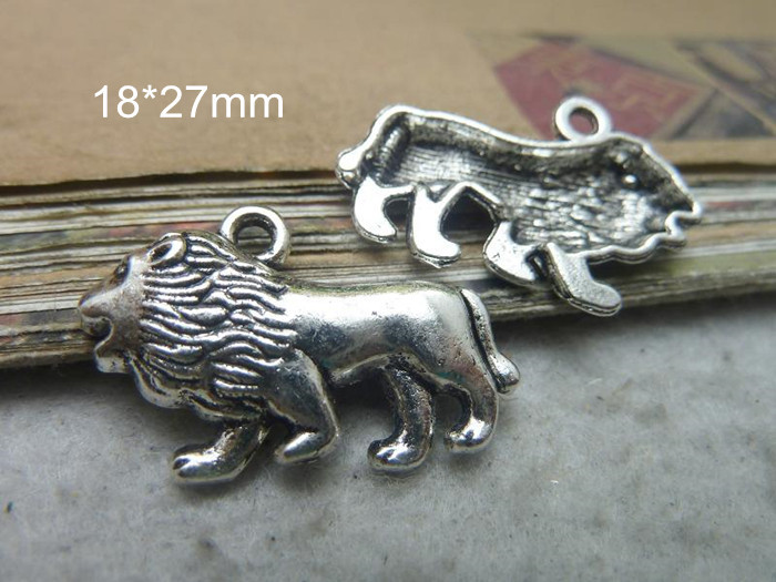 60 Tibetan Silver Lion Charms,18*27mm,Fit Bracelet Necklace,European Charms Pendant Jewelry Findings,Free Shipping(China (Mainland))
