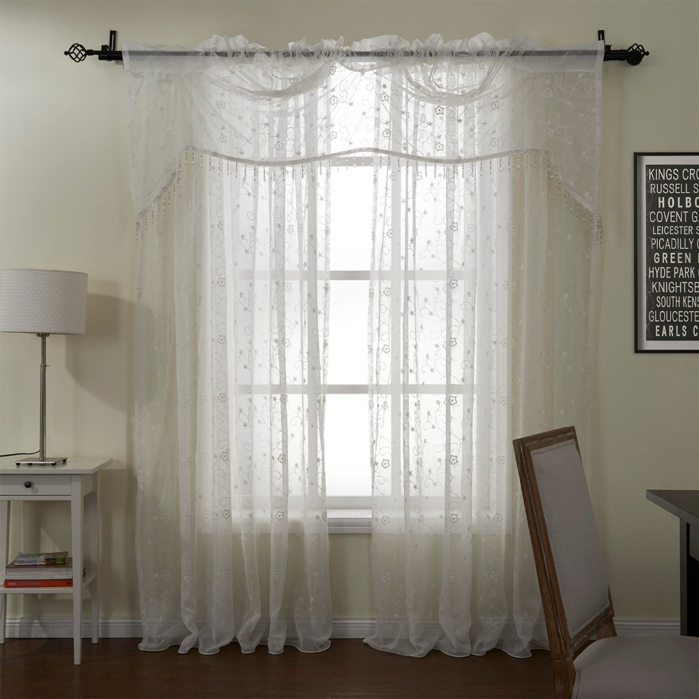 TWOPAGES(One panel)Window Curtain Cortinas Finery White Embroidery Sheer with Valance Curtain Rod Pocket Custom Made Curtains(China (Mainland))