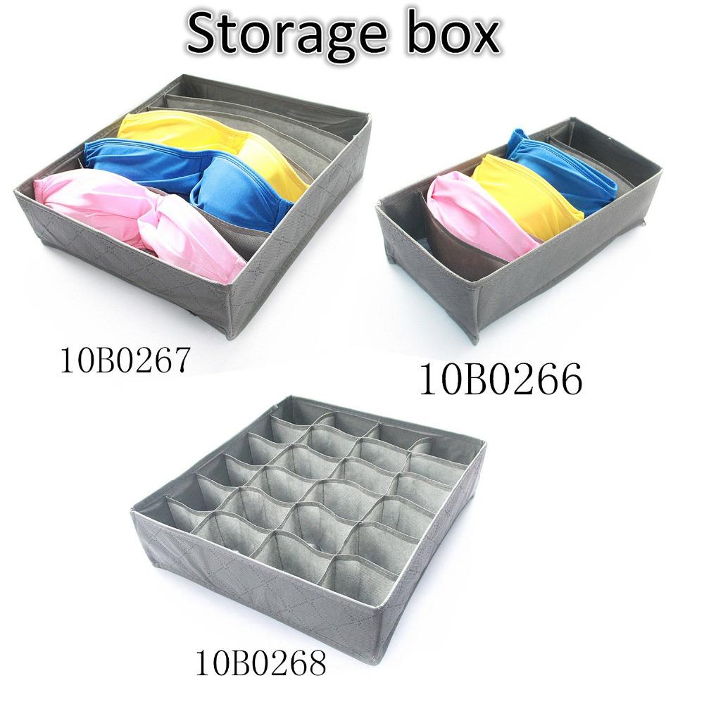 New Grey Various Grid Design Simple Fashion Convenient Folding Storage Box Bag for Bra Underwear Necktie Sock Organizer(China (Mainland))