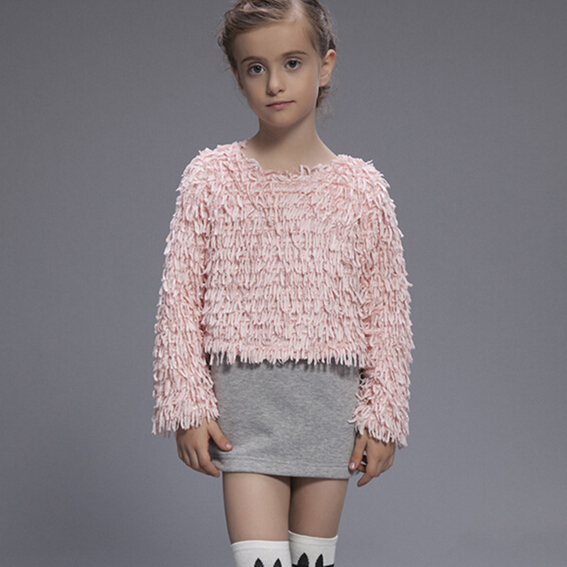Winter Girl Dress Fleece Warm False Two Pieces Tassel T-shirt robe fille dresses Girls KID CLOTHES - About Kids store