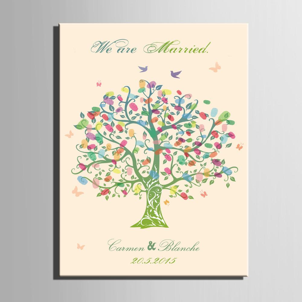 Wedding Gift Canvas Painting : Fingerprint Signature Canvas Painting Color Tree Wedding Gift wedding ...