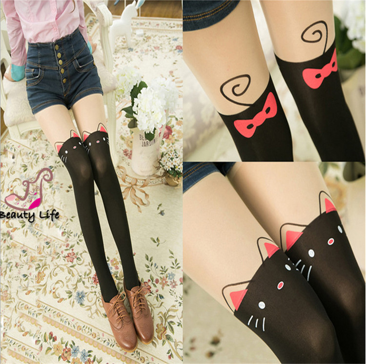2015 Fashion Sexy Thigh High Over The Knee Socks Cartoon Animal Long Cotton Stockings For Girls Ladies Women(China (Mainland))