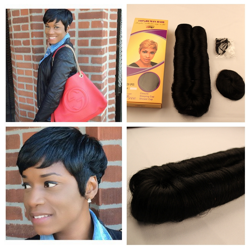 Hot 27 pieces short hair weave wholesale hair 27pieces hair weave top quality bump hair with free closure and free cap(China (Mainland))