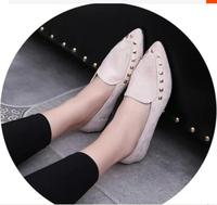 2016 Spring Autumn Style Ladies Comfortable Office Flats Fashion Women Pointed Toe Rivets Decoration Suede Casual Flat Shoes 23