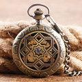 Bronze Grilles Hollow Roman Numerals Men Mechanical Hand Winding Pocket Watch Chain Steampunk Nurse Retro Gift