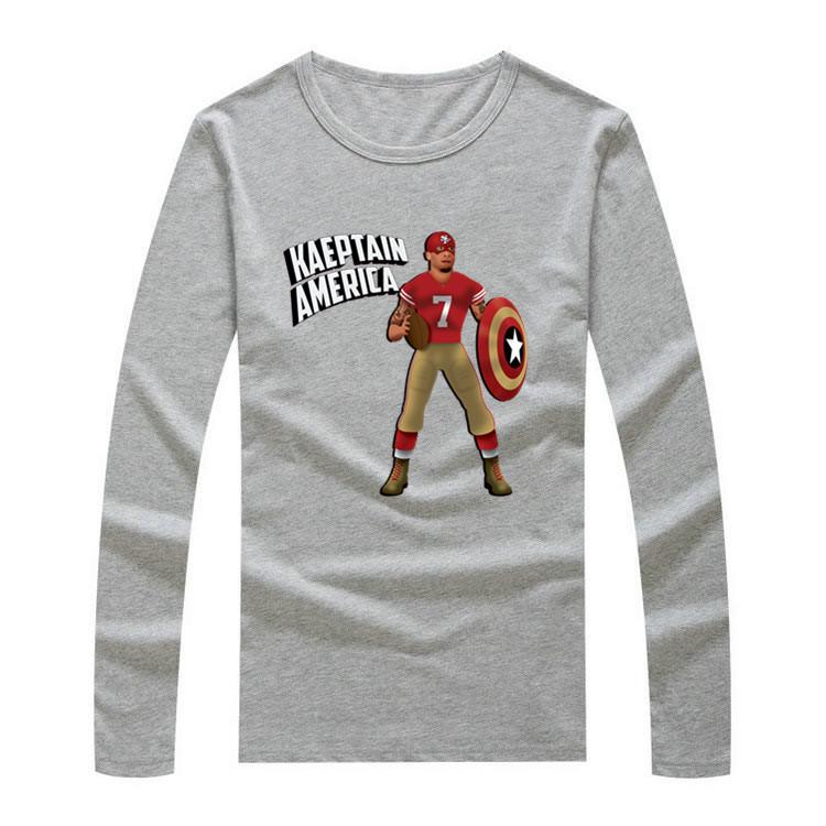 2016 2017 Colin Kaepernick Captain America long sleeve Blue shirt Cool Printed LS for fans(China (Mainland))