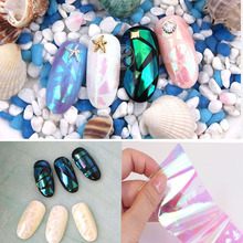 Fashion Newest Broken Glass Finger Mirror Nails Art Stencil Decal Nail Art stickers Manicure Tools Foil 5pcs 5*20cm S1