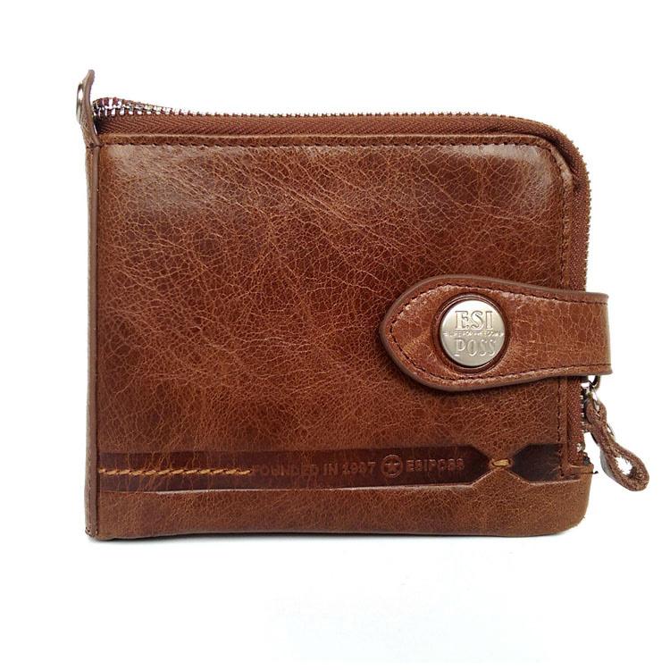 Famous brand wallets genuine leather men wallets cowhide short zipper men's card holder wallet design vintage coin purse(China (Mainland))