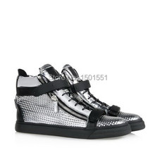 new high quality women mens Silver 3d case grain double iron gz high top lace Double zipper Flat bottom shoes(China (Mainland))