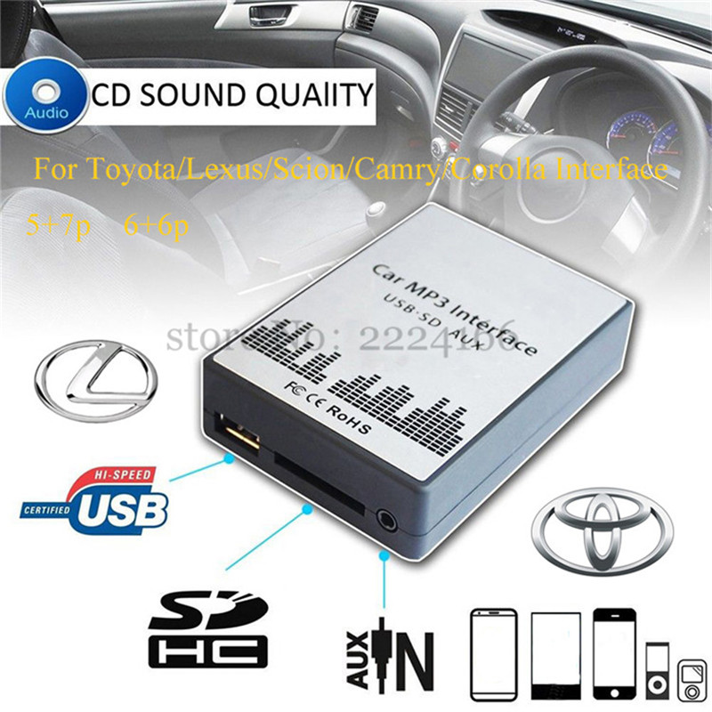 USB SD AUX car MP3 music player Adapter CD Changer for Toyota Lexus Scion Camry Corolla Interface,car kit car-styling(China (Mainland))