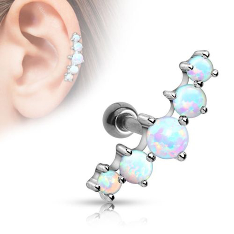 Surgical Steel Crystal Flower Ear Studs Cartilage Earrings Tragus Helix Piercing Gauges Ear Studs(China (Mainland))