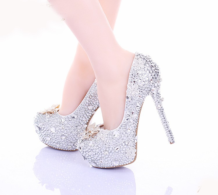 Cinderella High Heels Crystal Wedding Shoes 14cm Thin Heel Rhinestone Bridal Shoes Round Toe Formal Occasion Prom Shoes