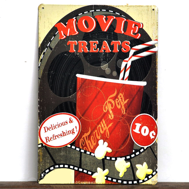"Direct selling RZXD-1049 Vintage metal painting ""MOVIE TREATS"" Tin signs Art home decor House Cafe Bar metal wall art 20x30 CM(China (Mainland))"
