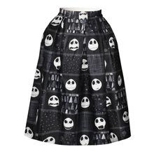 Womens 3D Skull Printed High Waist Knee High Pleated Princess Skirt