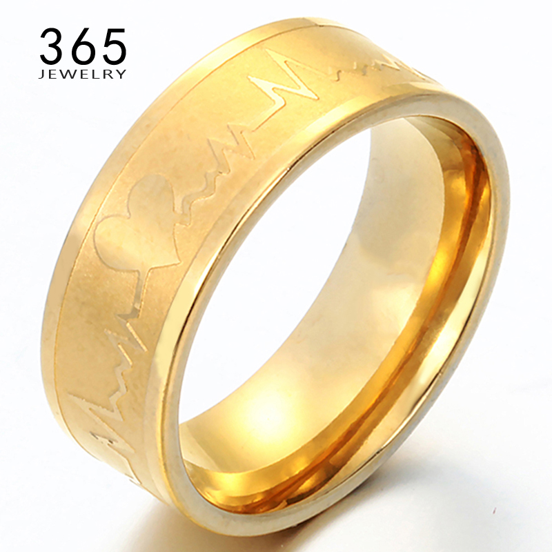 Romantic Gift Solid ECG Heartbeat Lovers Ring 18K Gold Plated Fall in Love 361L Stainless Steel Wedding Element Rings Women Men(China (Mainland))