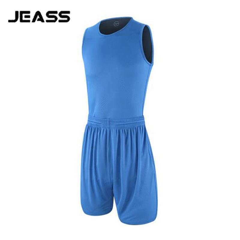 JEASS Men's Basketball Jersey Double-sided Set Blank Basketball Clothes Suit Game Uniforms Design Bermuda Training Shirt+shorts(China (Mainland))