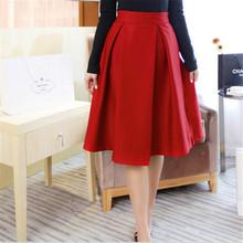 New Winter Pleated Skirt Women Retro Temperament High Waist Umbrella Skirt Female Solid All-Match Women's Skirt 8 Colors C1226