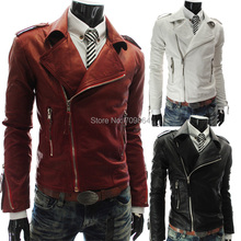New Hot Fashion mens Winter casual Breasted men's Overcoat zipper leather jackets coats / male PU jacket coat white red black