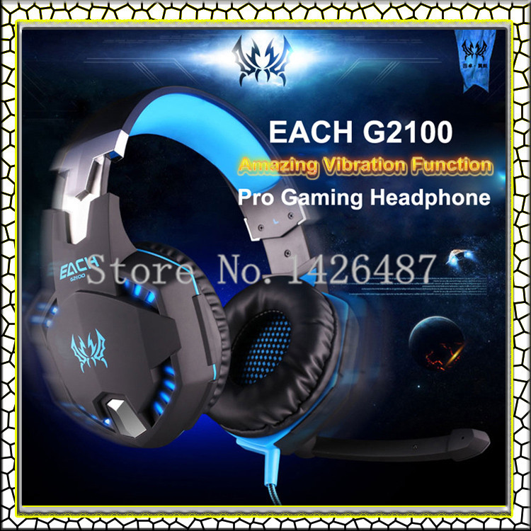 Brand PC Earphone EACH G2100 Blue Vibration Function computer Pro Gaming Headphone Headset with Microphone Stereo Bass LED Light(China (Mainland))