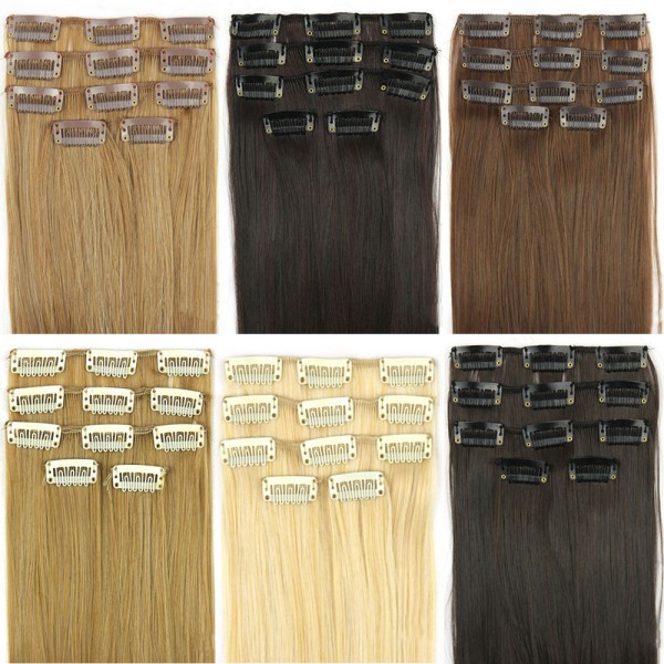 """24"""" 62cm Women Long Straight Clip In On Full Head Hair Extension 7Color(China (Mainland))"""