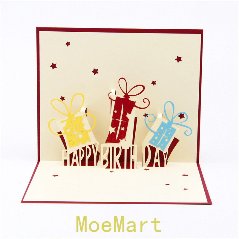 Wholesale 10pcs 3D birthday greeting card paper-cut three-dimensional creative custom cards handmade paper sculptures(China (Mainland))