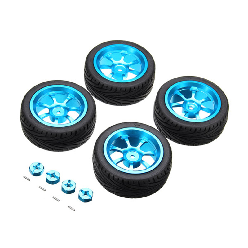 4PCs Rim and Tires with 7mm To 12mm Adapter For A959-B 1/18 WLtoys A949 A959 A969 A979 Rc Car Parts 1:18 aluminium alloy Wheels(China (Mainland))